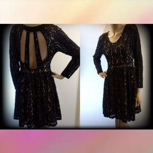 Altar'd State Black Lace Cut Out Flowy Dress